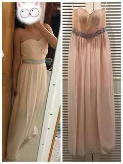 Long Tube Cream Beige Colour Dinner Dress