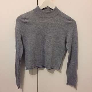 Grey high neck crop knit jumper