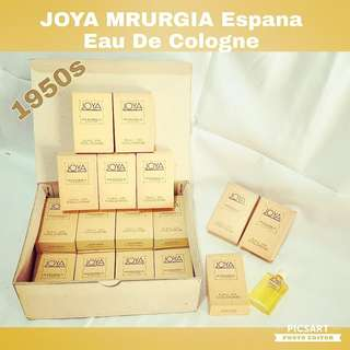 1950s Vintage Joya Mrurgia Espana Miniature Eau De Cologne in Original Box. Mrurgia was one of the  Top Brands then.  Refer to photo for detail & size. Unused Condition, still smell fragrant after so long. All 20pcs for $30 Clearance offer. Sms 96337309.