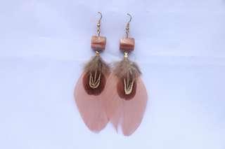 Maroon Feathered Earrings