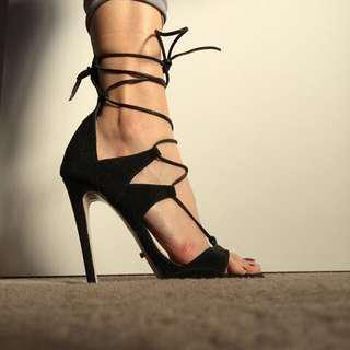 Tony bianco lace up heels black