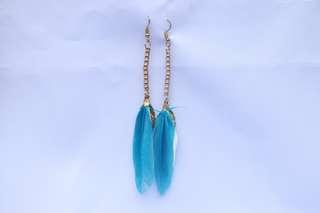Sky Blue Feathered Earrings