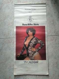 Vintage calendar collectible-Three Rifles Shirts 1979 calendar