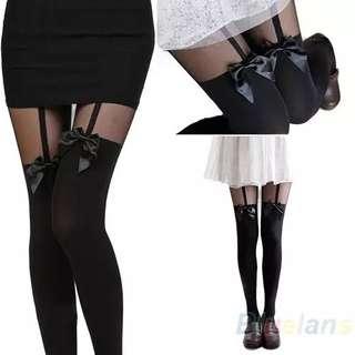 Leggings/stockings with ribbon
