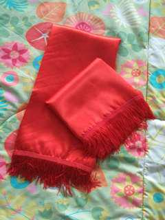 Chinese Red Satin Cloth (2 pieces)