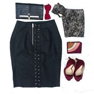 GUESS Black Lace Up Skirt
