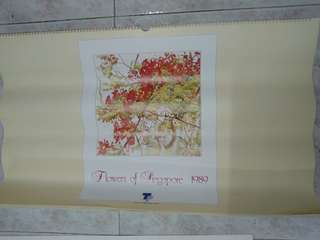 Vintage calendar collectible-1989 Flowers of Singapore (English edition)