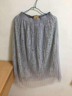 🚚 灰色蕾絲紗裙 #畢業兩百元出清