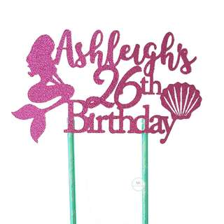 Customized Personalize Cake topper Birthday Party Decoration Glitter Fuchsia Pink
