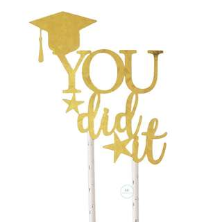 Customized Personalize Cake topper Graduation Party Decoration Holographic Gold