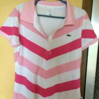 LACOSTE Pink and White polo shirt
