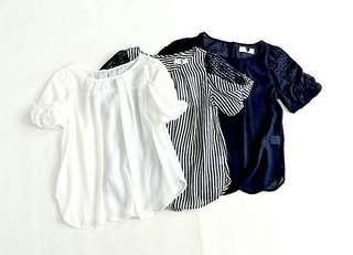 日本單 包郵 36/38 胸 XL 三色lace 雪紡花邊 短袖 涼爽 返工上裝 AS778755