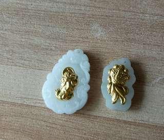 🚚 天然翡翠足金貔貅,金魚墜