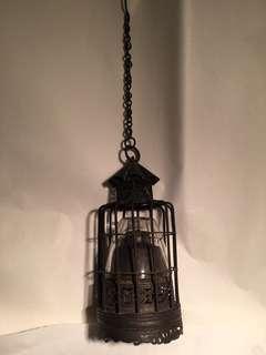 舊銅製全手工打造煙燈連玻璃𦋐及錬鈎