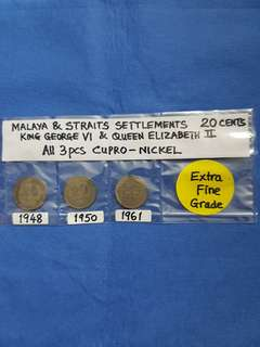 MALAYA & STRAITS SETTLEMENTS  20 CENTS.   1948,  1950,  &  1961.   ALL 3 PIECES CUPRO-NICKEL.