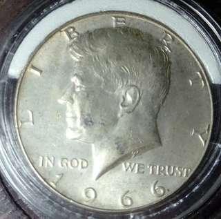 超筍!1966年美國半圓銀幣 超強轉光