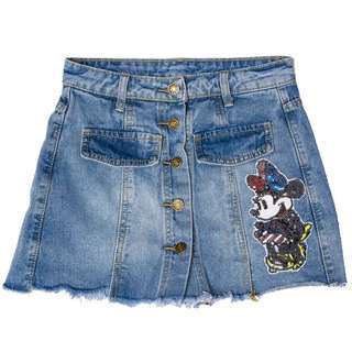 PO Minnie Sequin Button Down Denim Culotte