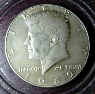 超正!1969D年美國半圓銀幣 美包漿品