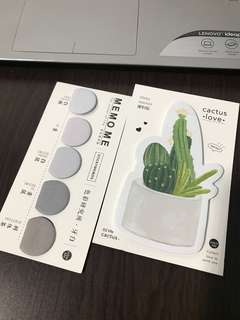 Cactus and Grey Half/ Semi Circle Post It Notepad Memo