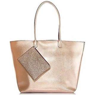 Bath & Body Works Metallic Rose Gold Tote (Bag & Pouch only)