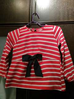 Cute striped red top with bow (Age 5-6)