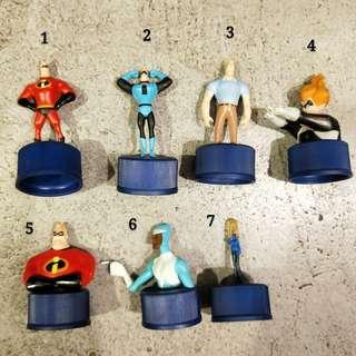 日本 迪士尼超人特攻隊皮克斯超級英雄超能先生巴小傑彈力女超人巴小倩酷冰俠玩具瓶蓋杯蓋絕版收藏稀有稀少可愛迪世尼toy壞人