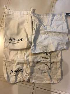Reusable cloth bags from Aesop and cos
