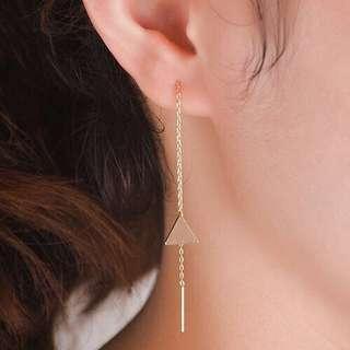Long Drop Gold Triangle Earrings