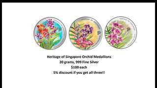Heritage of Singapore Orchid Silver Medallion