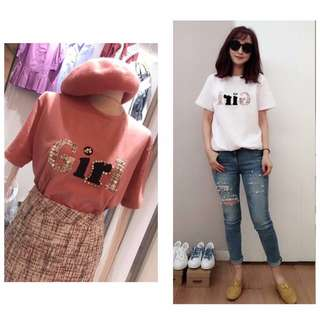 🚚 TWINKLE 正韓格紋珍珠Girl 圓領短袖T恤