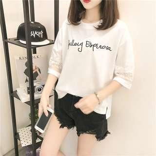 🚚 (預購)韓版蕾絲拼接寬鬆袖百搭T恤