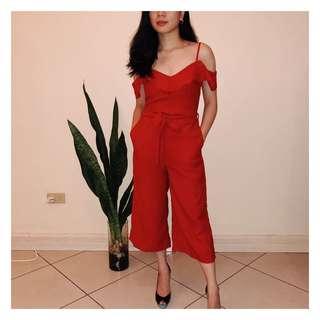 MANGO red jumpsuit