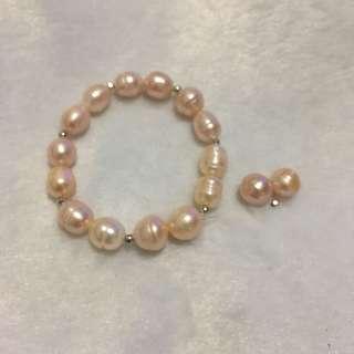天然淡水珍珠紫晶手串D款(8-10mm珠)