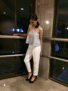 Halter Top, White Formal Pants