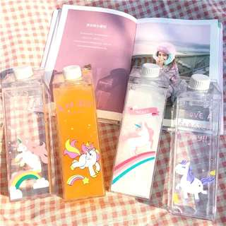 Pink Cute Carton Clear Water Bottle