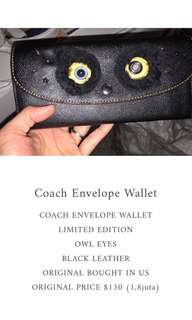 COACH ENVELOPE WALLET LIMITED EDITION OWL EYES BLACK LEATHER