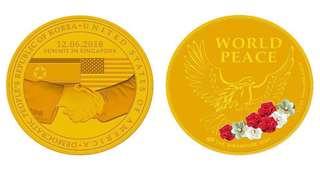 Trump Kim summit medallion coin GOLD