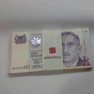 Singapore Portrait $2 Notes 80 Pc Unc