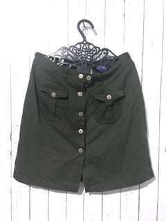 Faded Glory Button Down Skirt Army Green