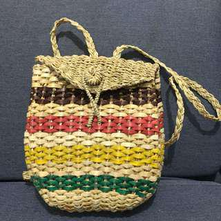 Native straw Backpack