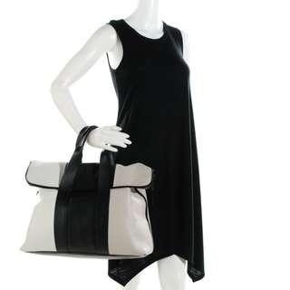 3.1 PHILLIP LIM Calfskin Tricolor 31 Hour Bag Black White Putty