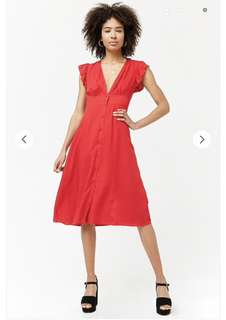 FOREVER 21 RED PLUNGING FONT BUTTON DRESS
