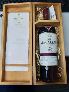 舊包裝 Macallan 25 Sherry oak Whisky 威士忌