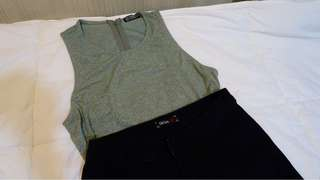 COTTON ON (top) Army green + high waisted black pants (not branded tho, php 200)