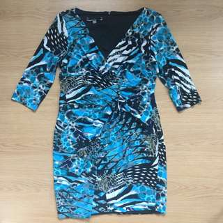 (US16) Preloved aquamarine printed cocktail dress