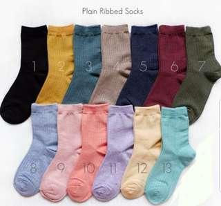 Plain Ribbed socks