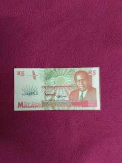 Malawi 5 kwacha 1995 issue
