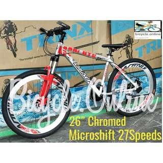 """Free delivery! 26"""" Dkaln Chromed MTB / Mountain Bike *Corrosion Resistance!  ☆ Microshift 27Speeds *Taiwan ☆ Aluminium Frame ☆ Brand New Bicycles"""