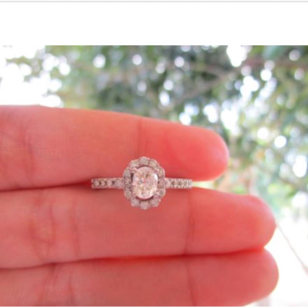 68 Carat Oval Diamond White Gold Engagement Ring 14k, Preloved ...