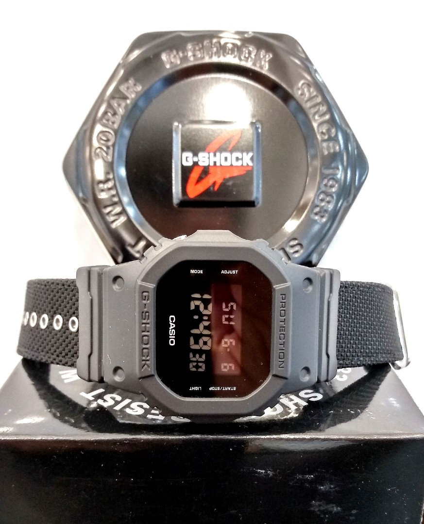 Free Delivery Brand New 100 Authentic Casio Gshock Stealth Black On Cordura Nato Strao G Shock Digital Square Watch G Shock Dw 5600bbn 1dt